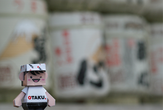 Otaku-san and the Sake barrels at Meiji Shrine, Tokyo